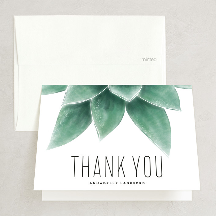 """Greenery"" - Bridal Shower Thank You Cards in Greenery by Leah Bisch."