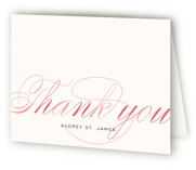 This is a rose blush bridal shower thank you card by annie clark called Blushing Bride with standard printing on strathmore in standard.