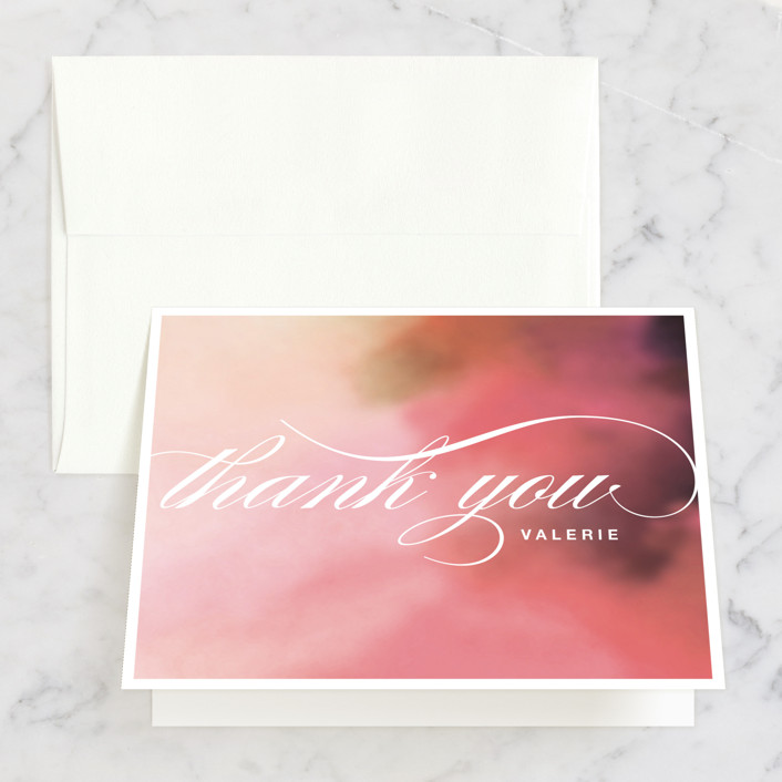 """Soft Watercolor"" - Bridal Shower Thank You Cards in pink by Aspacia Kusulas."