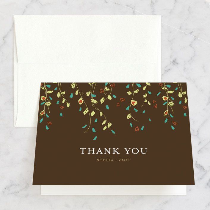 """Rain Catcher"" - Bridal Shower Thank You Cards in brown by Larkspur Paperie."