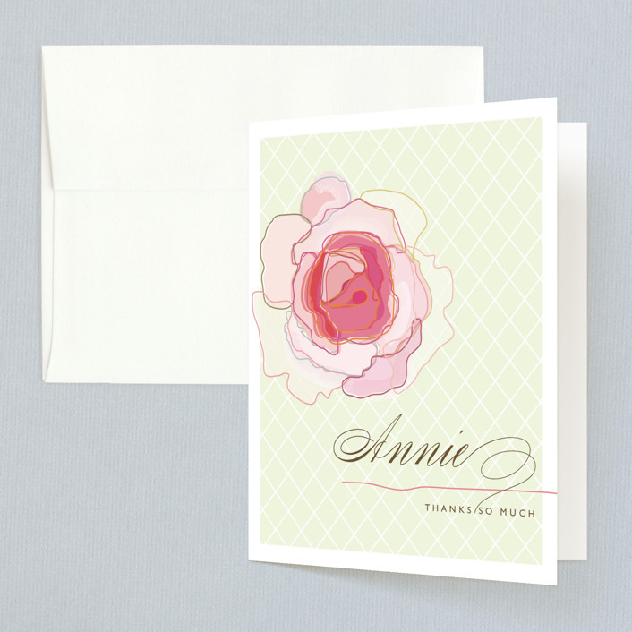 """Rose Blush"" - Bridal Shower Thank You Cards in pink by karen boehm custom."