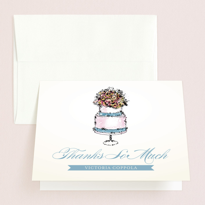"""Sweet n' Chic"" - Bridal Shower Thank You Cards in blue by Penelope Poppy."