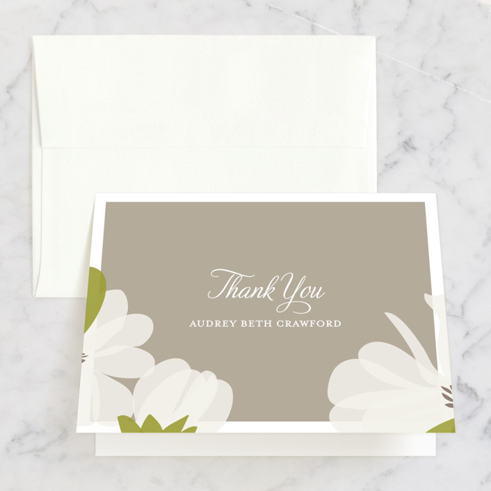 """""""Southern Magnolia"""" - Bridal Shower Thank You Cards in brown by Toast & Laurel."""