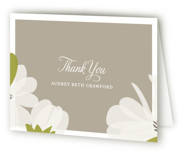 This is a taupe bridal shower thank you card by Toast & Laurel called Southern Magnolia with standard printing on strathmore in standard.