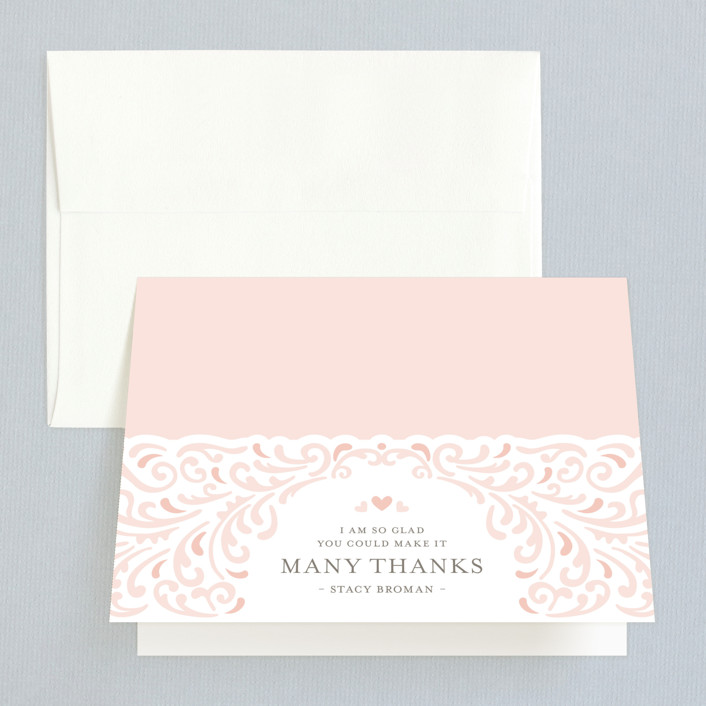"""""""Elegant Piping"""" - Bridal Shower Thank You Cards in pink by Mandy Rider."""