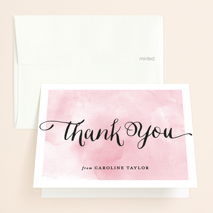 """""""Watercolor Shower"""" - Bridal Shower Thank You Cards in Petal by Hooray Creative."""
