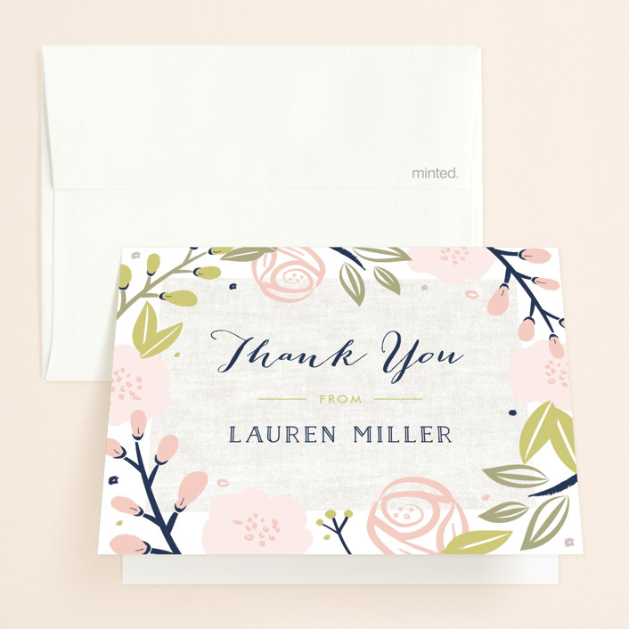 """Spring Shower"" - Bridal Shower Thank You Cards in Blush by Carolyn MacLaren."