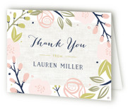 This is a pink bridal shower thank you card by Carolyn MacLaren called Spring Shower with standard printing on strathmore in standard.