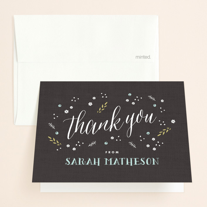 """""""Rustic Charm"""" - Bridal Shower Thank You Cards in black by Kristie Kern."""