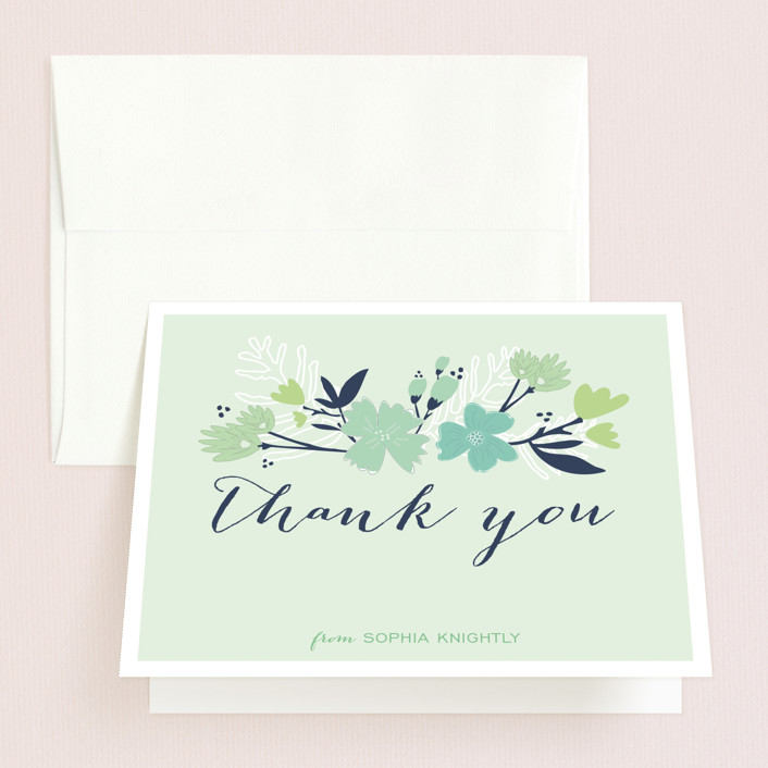 """""""Sea Floral"""" - Bridal Shower Thank You Cards in green by Grace Kreinbrink."""