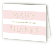 This is a blush bridal shower thank you card by Lauren Chism called Here She Comes with standard printing on strathmore in standard.