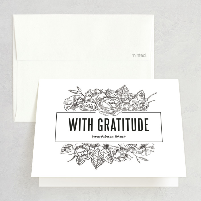 """Sketched Foliage"" - Floral & Botanical Bridal Shower Thank You Cards in white 