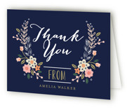 This is a blue bridal shower thank you card by Alethea and Ruth called Wildflower Crest with standard printing on strathmore in standard.