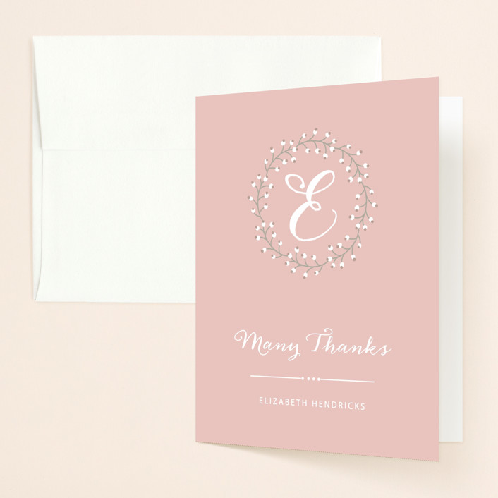 """Baby's Breath"" - Rustic, Bold typographic Bridal Shower Thank You Cards in pink by Sarah DeWitt."