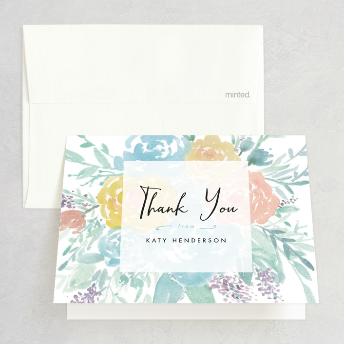 """""""Among the Flowers"""" - Floral & Botanical, Hand Drawn Bridal Shower Thank You Cards in Tiffany by Qing Ji."""