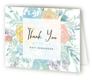 This is a tiffany bridal shower thank you card by Qing Ji called Among the Flowers with standard printing on strathmore in standard.
