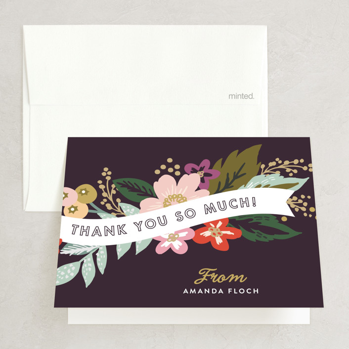 """Banner Names"" - Floral & Botanical, Vintage Bridal Shower Thank You Cards in purple 