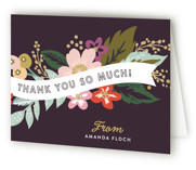 This is a plum bridal shower thank you card by Alethea and Ruth called Banner Names with standard printing on strathmore in standard.