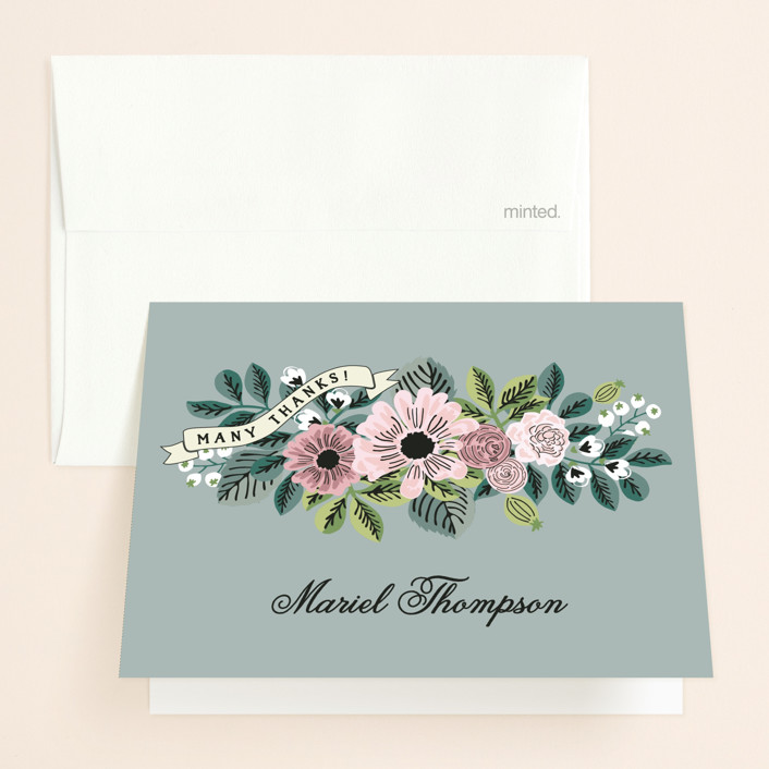 """""""Wedding Trellis"""" - Floral & Botanical, Vintage Bridal Shower Thank You Cards in green by Chris Griffith."""