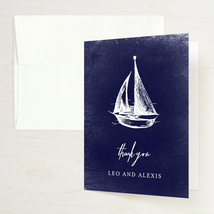 """Nautical"" - Hand Drawn, Destination Bridal Shower Thank You Cards in Navy by Rebecca Bowen."