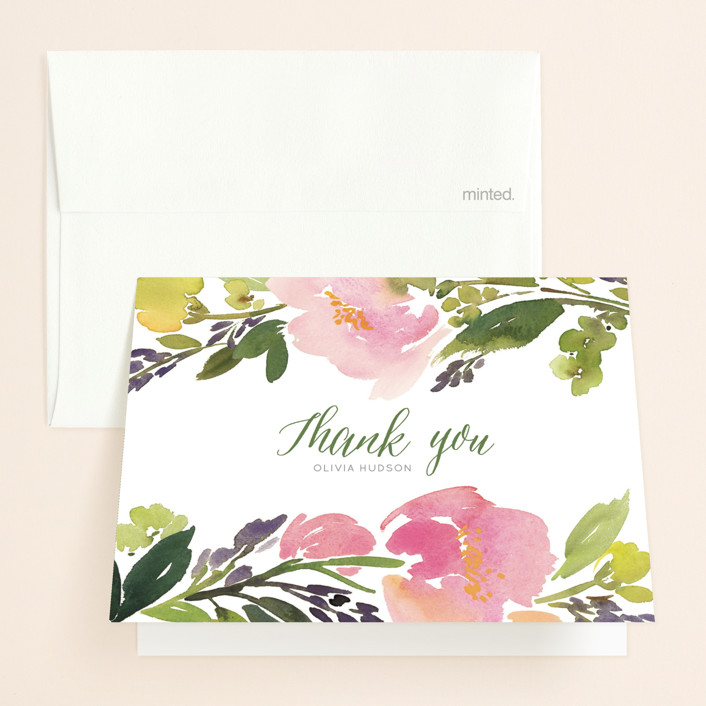 """""""Watercolor Floral"""" - Bridal Shower Thank You Cards in Olive by Yao Cheng Design."""