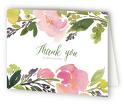 This is a green bridal shower thank you card by Yao Cheng Design called Watercolor Floral with standard printing on strathmore in standard.