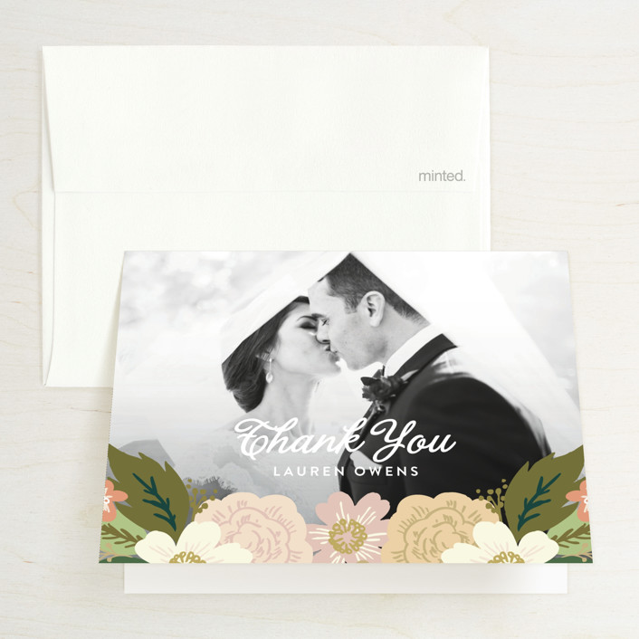 """Classic Floral"" - Bridal Shower Thank You Cards in Spring Blush by Alethea and Ruth."