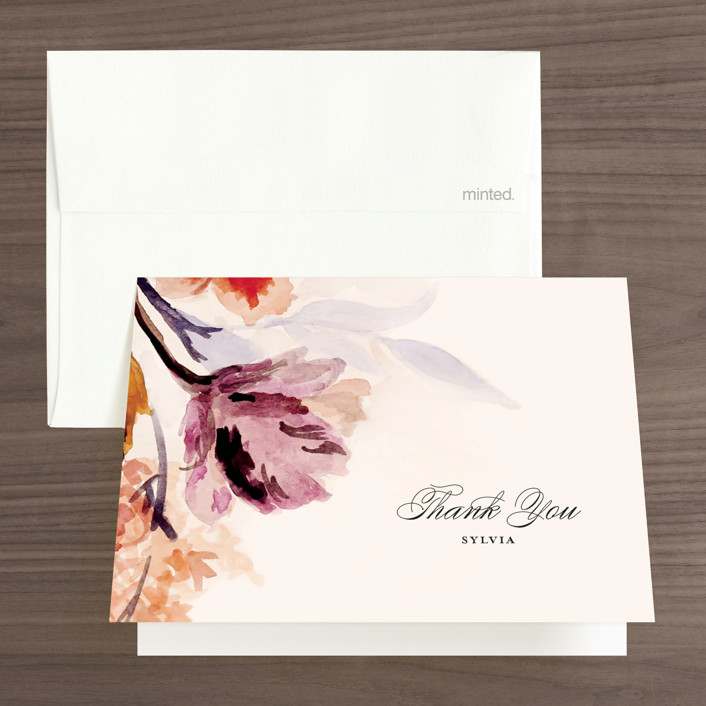 """""""Grecian Floral"""" - Bridal Shower Thank You Cards in Tulip by Olivia Kanaley."""