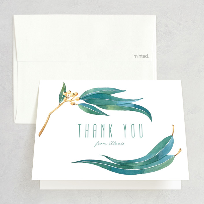 """Eucalyptus Leaves"" - Bridal Shower Thank You Cards in Eucalyptus by Four Wet Feet Studio."