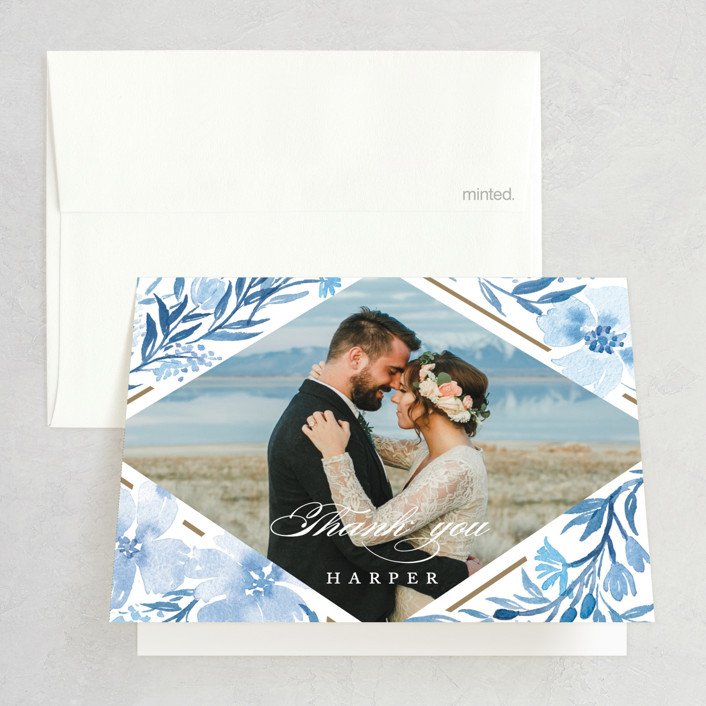 """Poetic Blue"" - Bridal Shower Thank You Cards in Sky by Qing Ji."