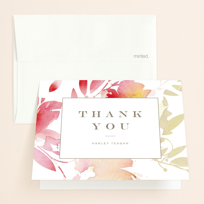 """Stately Florals"" - Bridal Shower Thank You Cards in Poppy by Lori Wemple."
