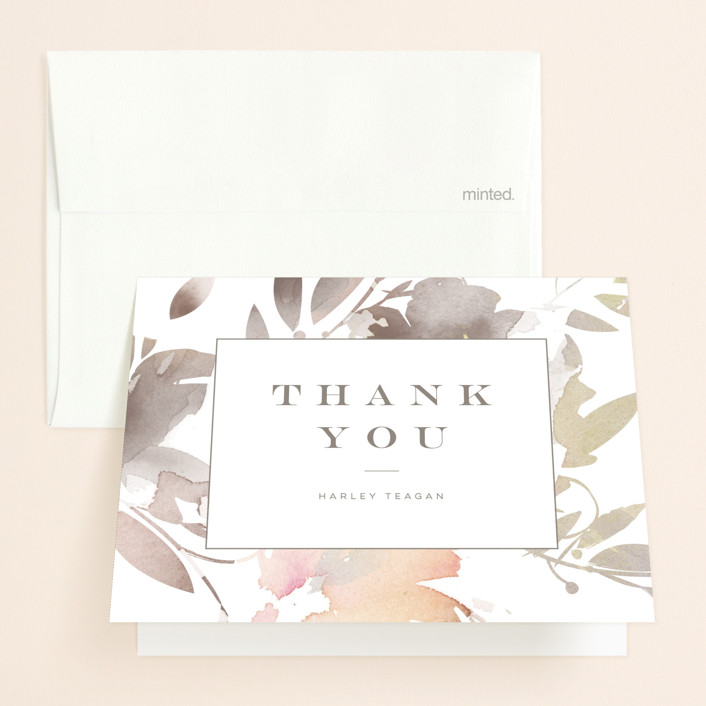 """""""Stately Florals"""" - Bridal Shower Thank You Cards in Poppy by Lori Wemple."""