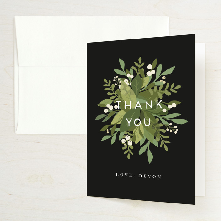 """""""Laurel of Greens"""" - Bridal Shower Thank You Cards in Midnight by Jennifer Wick."""