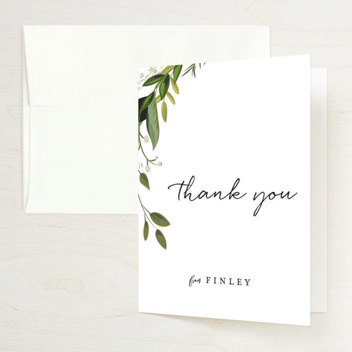 """Vines of Green"" - Bridal Shower Thank You Cards in Fern by Susan Moyal."