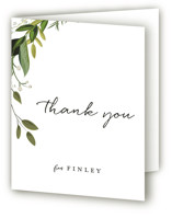 This is a green bridal shower thank you card by Susan Moyal called Vines of Green with standard printing on strathmore in standard.