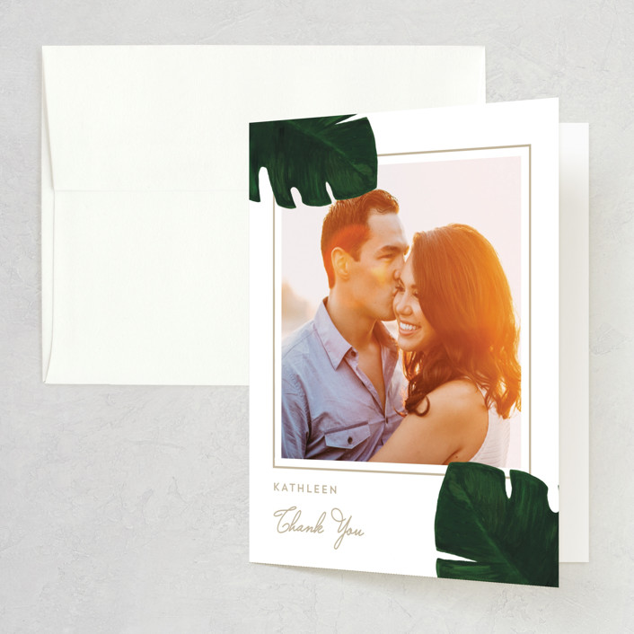 """Palm"" - Bridal Shower Thank You Cards in Classic Palm by Kaydi Bishop."