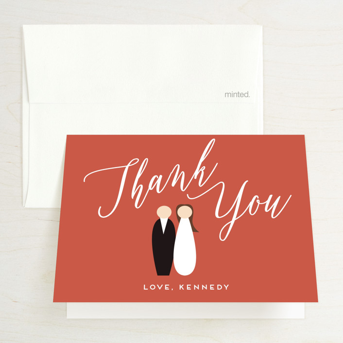 """Bridal Brunch"" - Bridal Shower Thank You Cards in Pomegranate by Haley Warner."