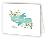 This is a blue bridal shower thank you card by Jennifer Postorino called Adorned Ribbon with standard printing on strathmore in standard.