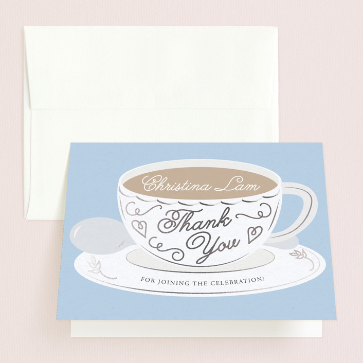 """Tea Time"" - Bridal Shower Thank You Cards in Blueberry by Jennifer Lew."
