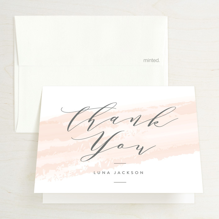 """""""softly brushed"""" - Bridal Shower Thank You Cards in Blush by Owl and Toad."""