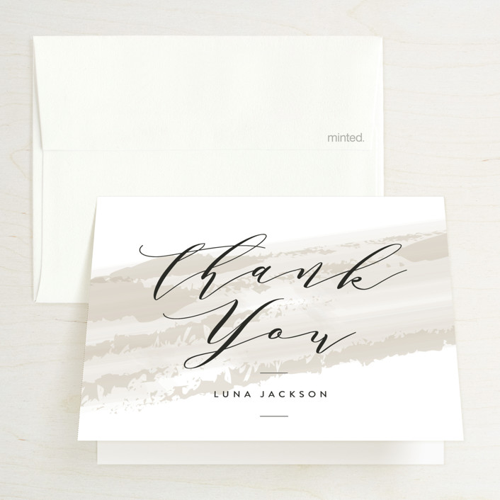 """softly brushed"" - Bridal Shower Thank You Cards in Blush by Owl and Toad."