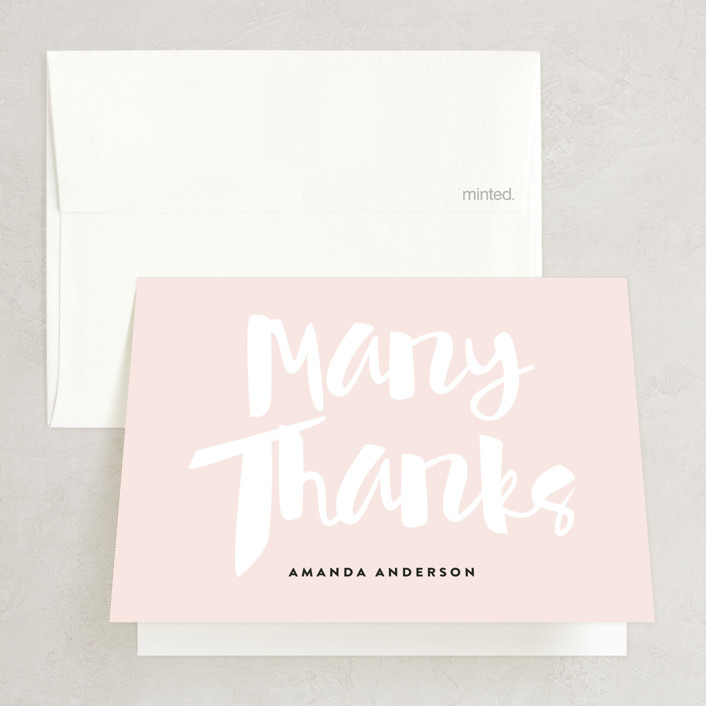 """Rose All Day"" - Bridal Shower Thank You Cards in Cotton Candy by Roxy Cervantes."