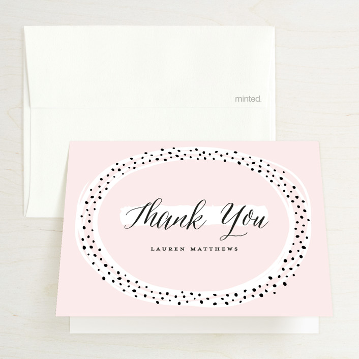 """""""Dotted"""" - Bridal Shower Thank You Cards in Rose by Michelle Taylor."""