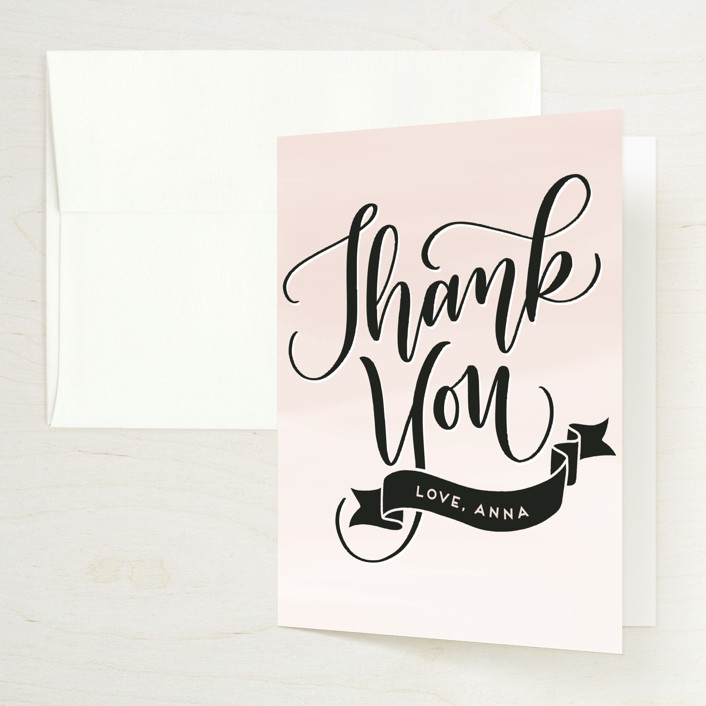 """""""Lovely"""" - Bridal Shower Thank You Cards in Blush by Leah Bisch."""