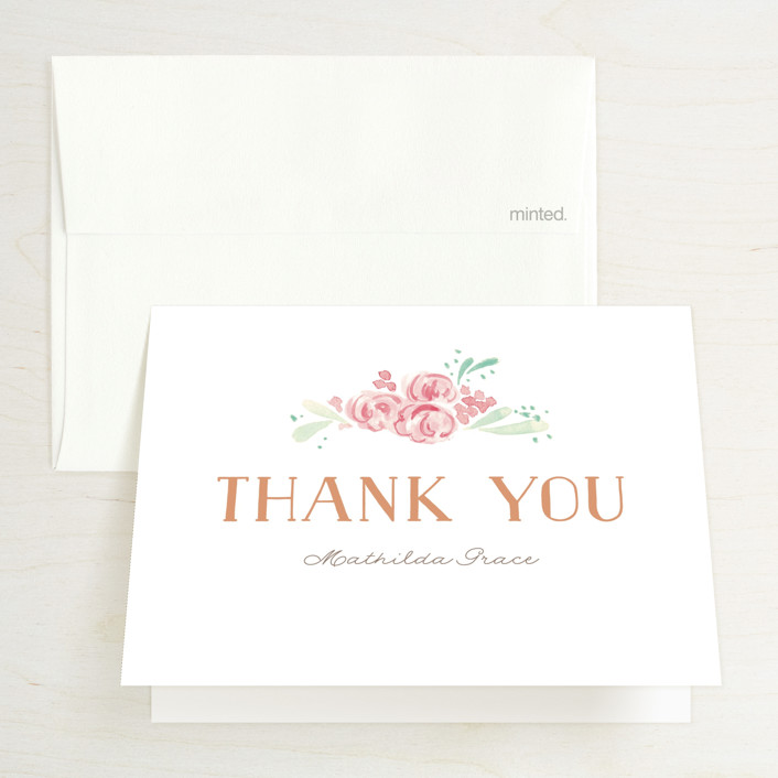 """Princess cake"" - Bridal Shower Thank You Cards in Peach by Benita Crandall."