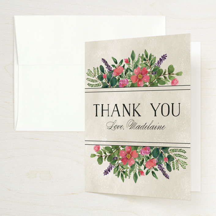 """Bridal Garden"" - Bridal Shower Thank You Cards in Ecru by Chris Griffith."