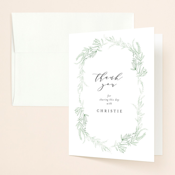 """""""dainty green bride"""" - Bridal Shower Thank You Cards in Fresh by Phrosne Ras."""