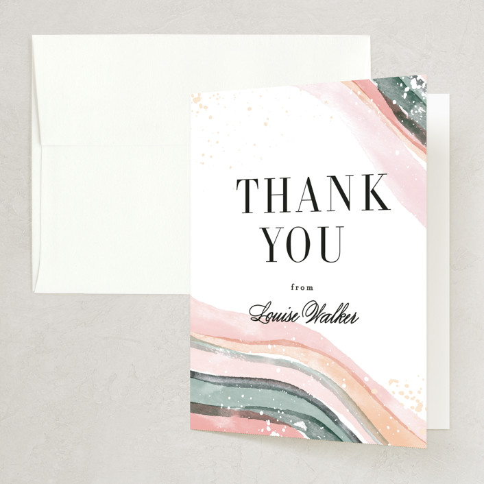 """Painted Layers Splash"" - Bridal Shower Thank You Cards in Carnation by Alethea and Ruth."