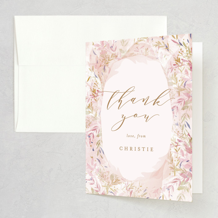 """Fantasy Floral Bride"" - Bridal Shower Thank You Cards in Blush by Phrosne Ras."