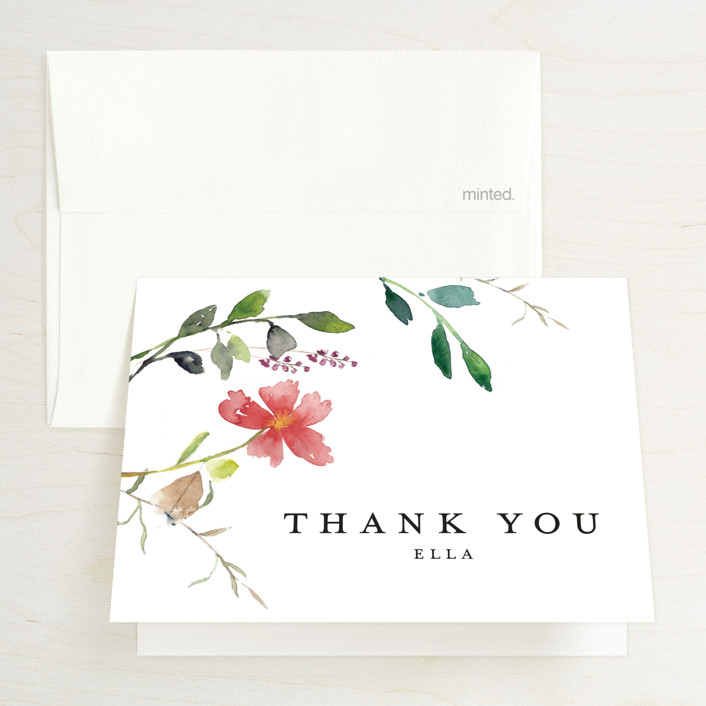 """Spring Wildflowers"" - Bridal Shower Thank You Cards in Floral by Mere Paper."